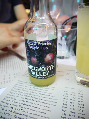 chegworth valley apple juice at the rivington grill shoreditch