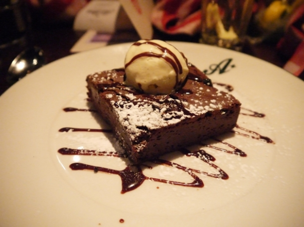 chocolate brownie with ice cream at all star lanes bayswater