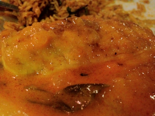 close up of sea bass curry at carom