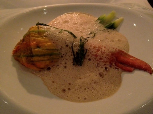 courgette flower stuffed with lobster at pattersons