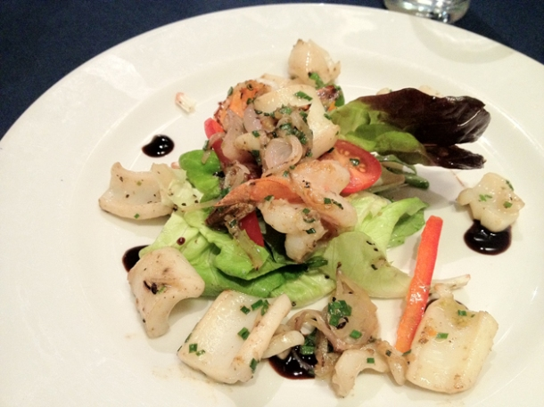 grilled squid and shrimp salad at chez liline