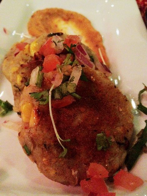 potato and corn cakes at carom