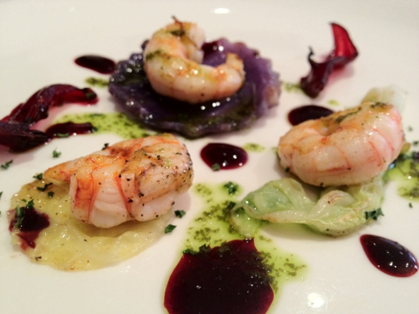 prawns, pisco and hibiscus at gelonch