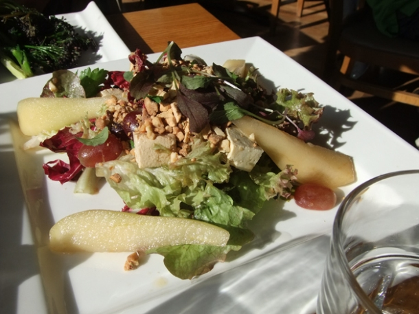 spiced cashew, smoked tofu, pear and grape salad at food for friends