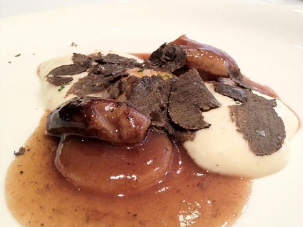 veal marrow with egg yolks, turnips and black truffles at gelonch