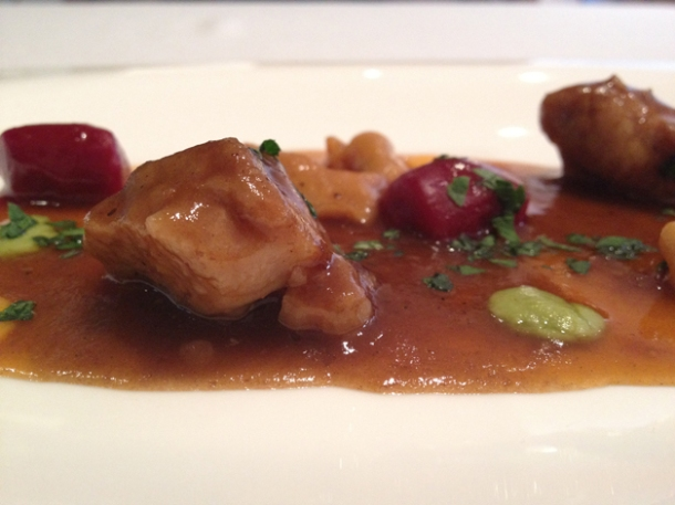 veal sweet breads and cod innards with beetroot gnocchi at gelonch