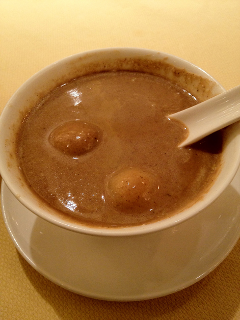 walnut soup with glutinous rice dumplings at fook lam moon shanghai