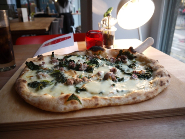 wild broccoli, pork and fennel sausage, chillies, cream and mozzarella pizza at meter