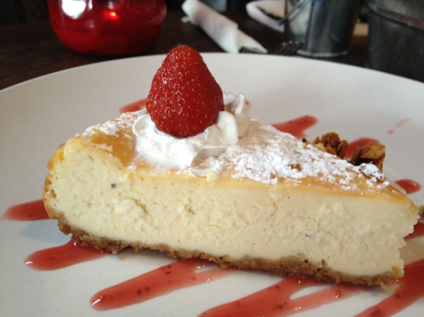 baked cheesecake at duke's brew and que