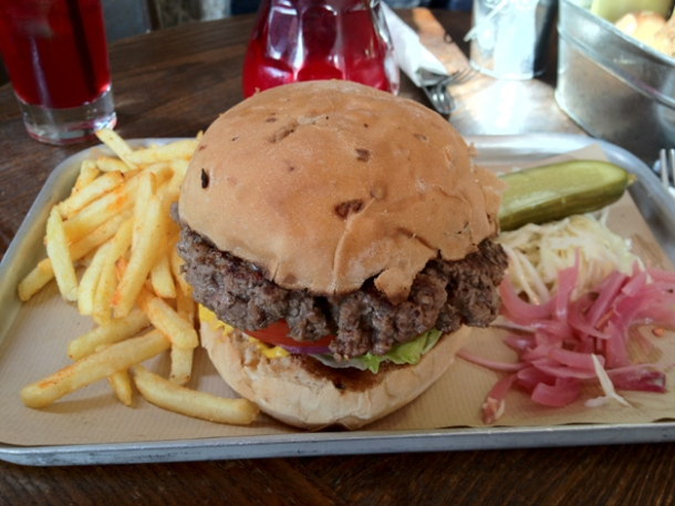 burger at duke's brew and que