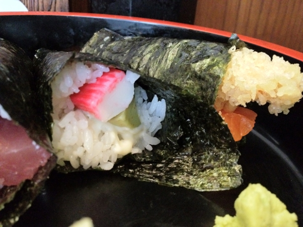 fish stick temaki and tempura-salmon temaki at ten ten tei