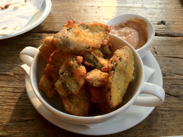 deep fried pickles and okra at dukes brew and que
