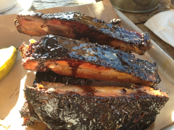 pork ribs at duke's brew and que