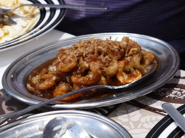 prawn curry with shrimp garnish at mandalay