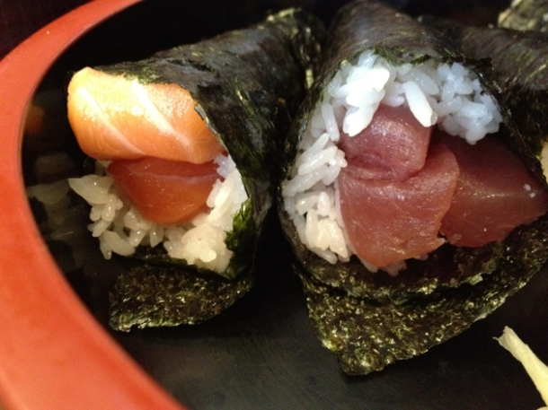 salmon and tuna temaki sushi at ten ten tei