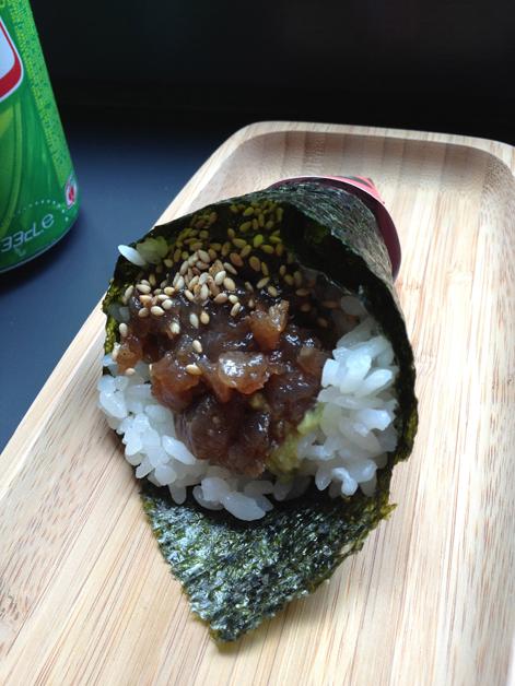 tuna tartare temaki sushi at yoobi