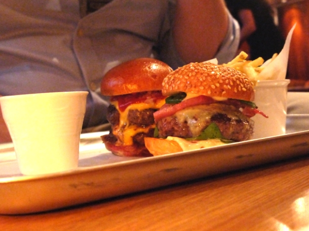 el chappo mini burger at lucky chip slider bar