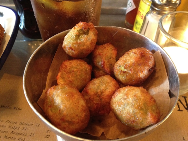 fried and stuffed olives at spuntino