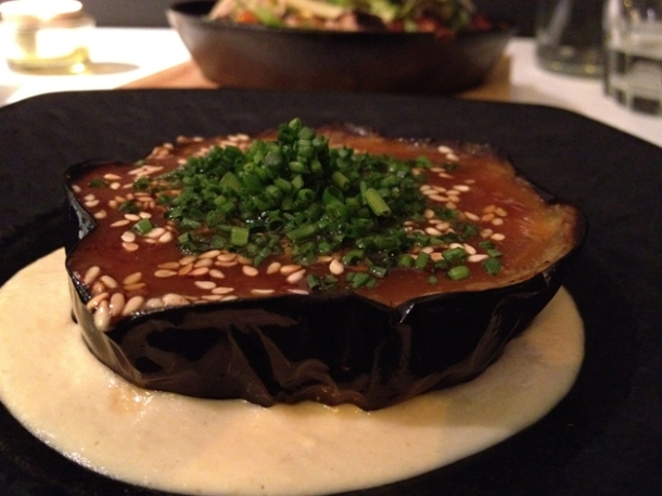 grilled eggplant with sweet miso on hummus at tapasia