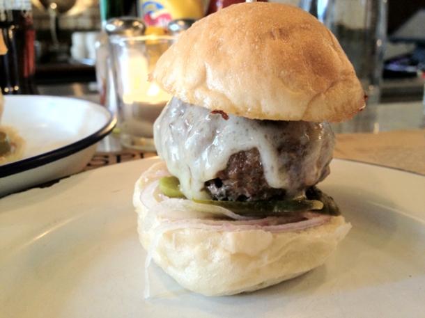 ground beef and bone marrow mini burger at spuntino