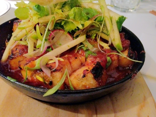 pork belly with apple salad at tapasia