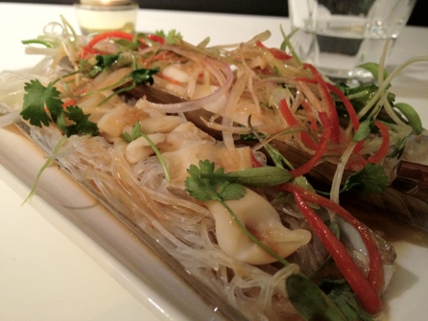 steamed razor clams on a bed of glass noodles at tapasia