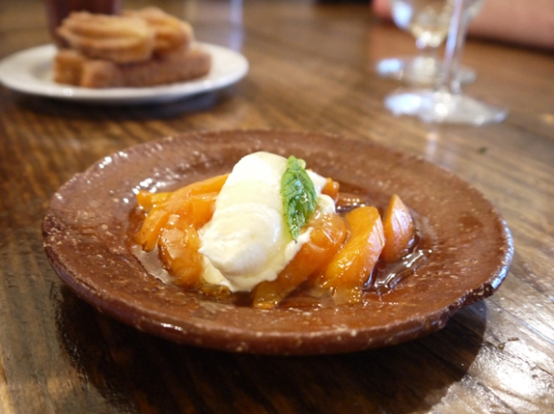 apricots, creme fraiche, pine nuts and honey at copita