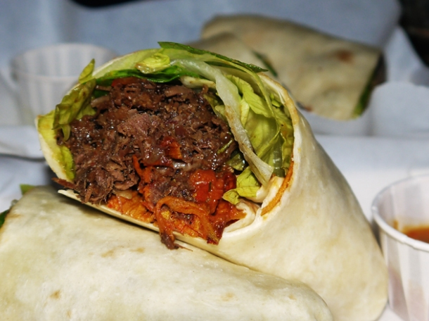 beef and sweet potato burrito at death by burrito at catch