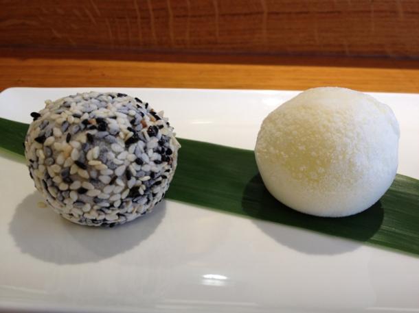 black sesame and yuzu ice cream mochi at toku