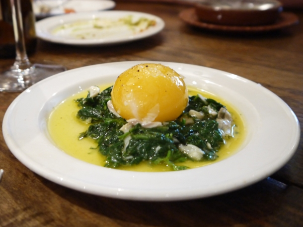 duck egg, smoked haddock and spinach at copita