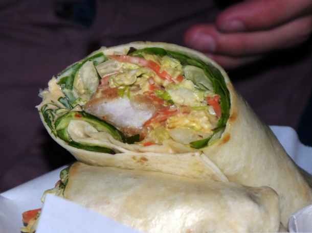 fish and coleslaw burrito at death by burrito at catch