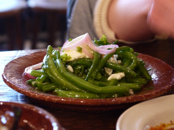 green beans, hazelnuts and cow's curd at copita
