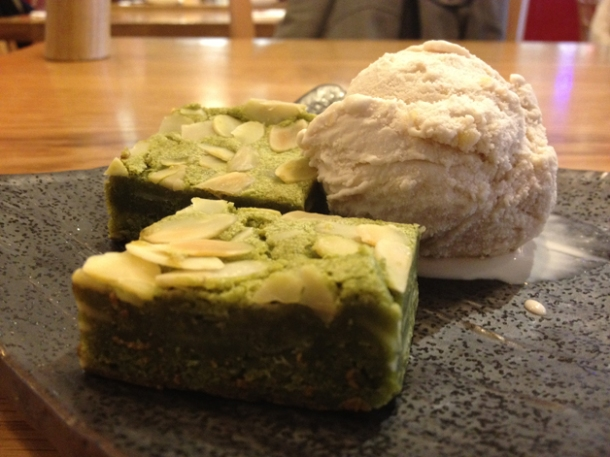 green tea brownie at toku