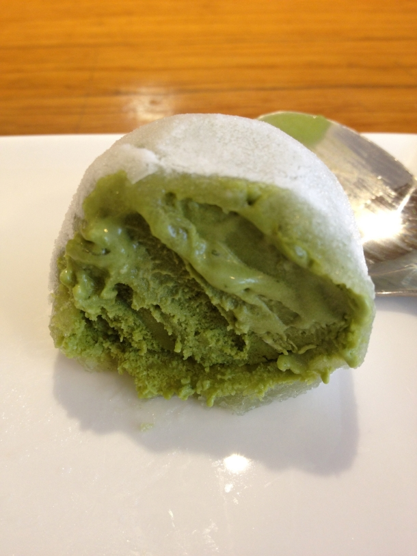 inside green tea ice cream mochi at toku