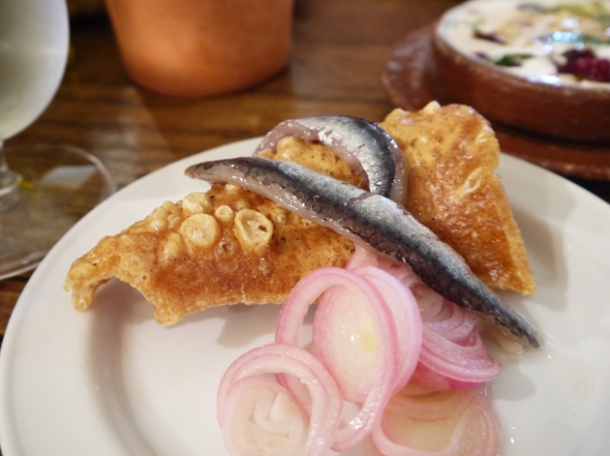 anchovies and pork scratchings at copita