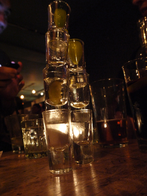 empty shots glasses at death by burrito at catch
