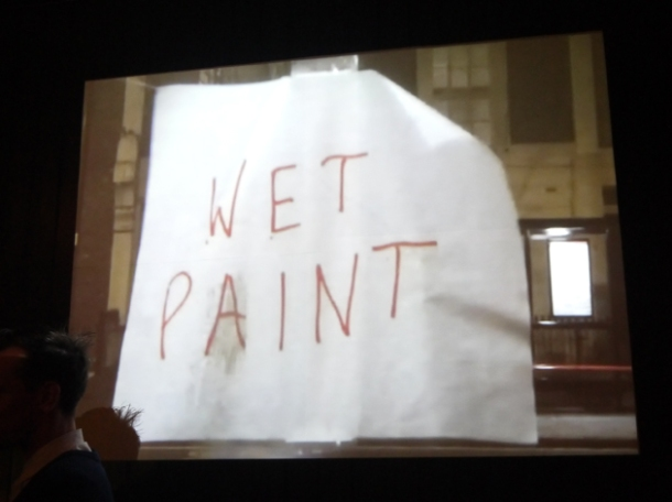 wet paint projector screen at death by burrito at catch