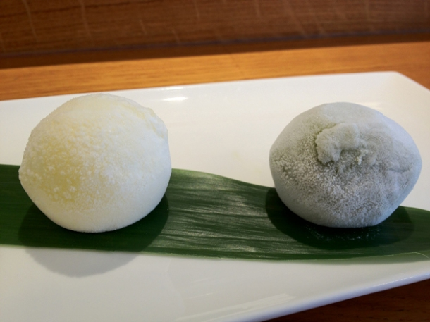 yuzu and green tea ice cream mochi at toku