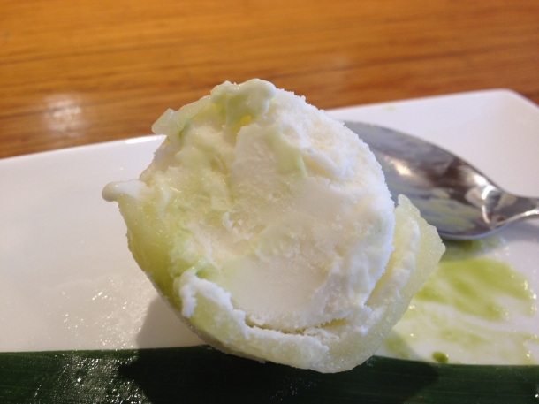 inside yuzu ice cream mochi at toku