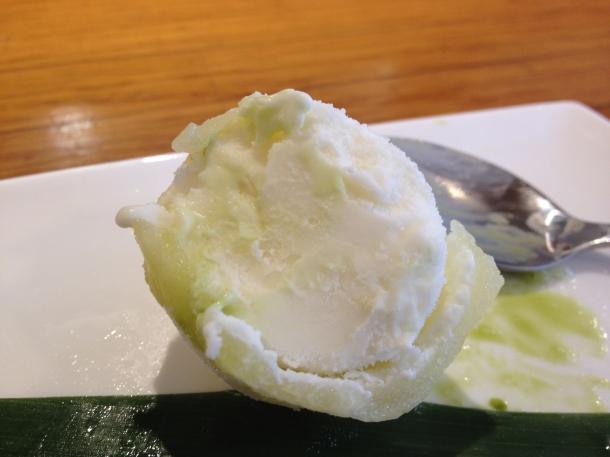 inside yuzu ice cream mochi at toku