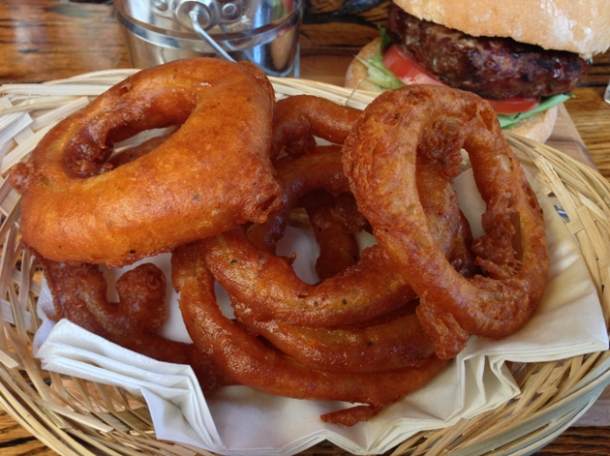 onion rings at burger breakout at the old crown
