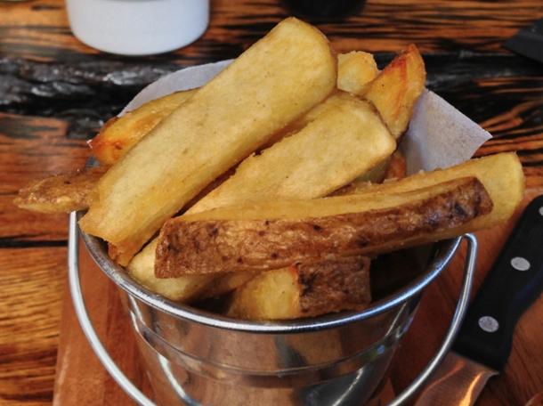 salt horseradish chips at burger breakout new oxford street