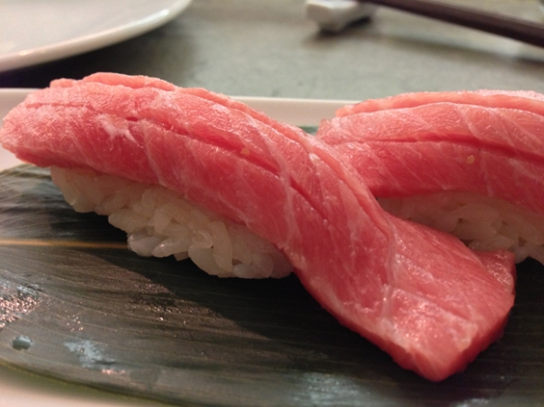 fatty neck tuna nigiri sushi at dinings