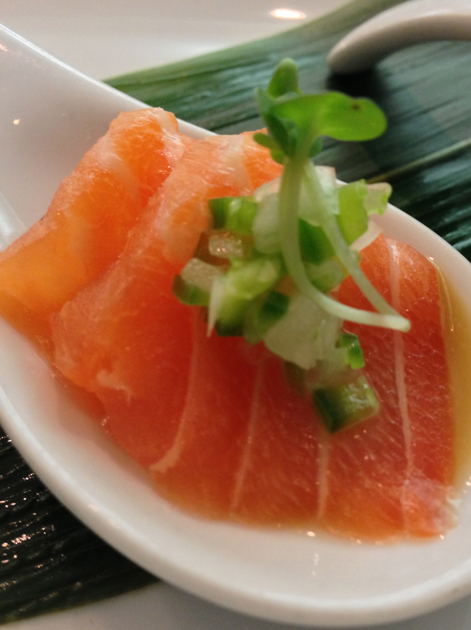 salmon sashimi at dinings