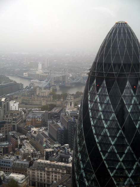 view of tower bridge and 30 st mary axe from duck and waffle