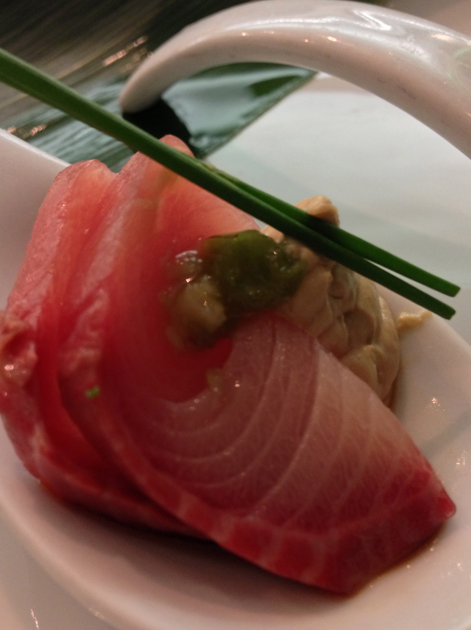 yellowtail sashimi at dinings