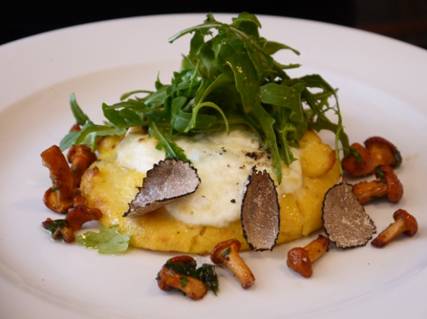 baked polenta, girolles, burrata, rocket & summer truffle at 10 greek street