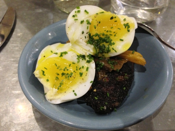 black pudding, duck egg and chanterelle mushrooms at 10 greek street