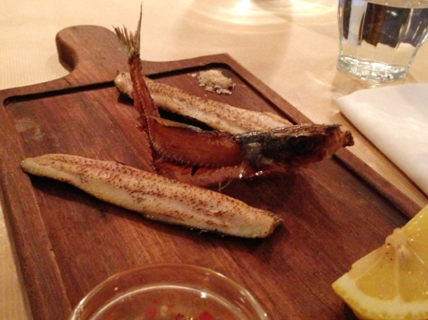 blow torched sardine with skeleton at season