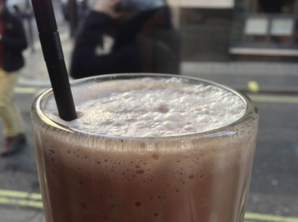 chocolate milkshake at brgr.co